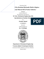 Evaluation of Fire Resistant Hydraulic Fluid to Replace Conventional Mineral Oil in Nuclear Industry