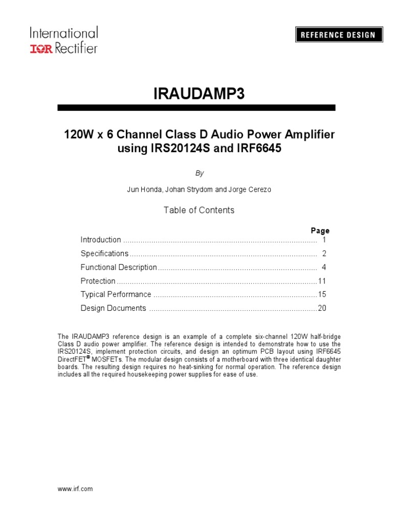 Iraudamp3 120w X 6 Channel Class D Audio Power Amplifier Using Wiring Diagram Single Chip 25 Watt Mono Classd Irs20124s And Irf6645 Electronic Engineering
