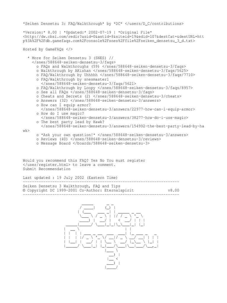 GameFAQs Seiken Densetsu 3 (SNES) FAQ_Walkthrough by DC | Strategy
