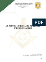 OS VÍCIOS DO GRAU DE APRENDIZ FRANCO MAÇOM