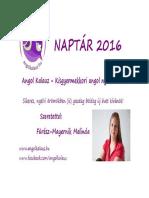 angolozós Naptar 2016