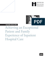 IHI Patient Family Experience of Hospital Care White Paper 2011