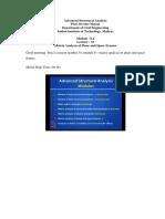 Advance Structural Analysis (Internal Hinge) - Devdas Menom
