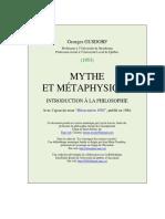 Gusdorf - Mythe Et Metaphysique