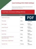 TN Govt 2016 Holidays