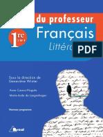francais litterature livre du professeur