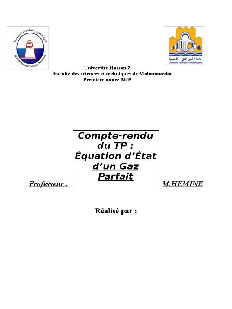 Équation d'État d'Un Gaz Parfait | Température | Phase ...