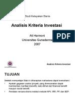Analisis Kriteria Investasi Evaluasi Proyek