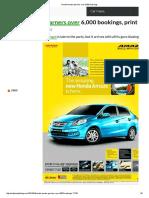 Honda Amaze Garners Over 6,000 Bookings