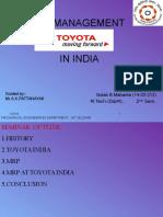 Mrp of Toyota India
