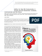 Retaking Responsibility for How We Communicate. A Review of Open Access and the Humanities