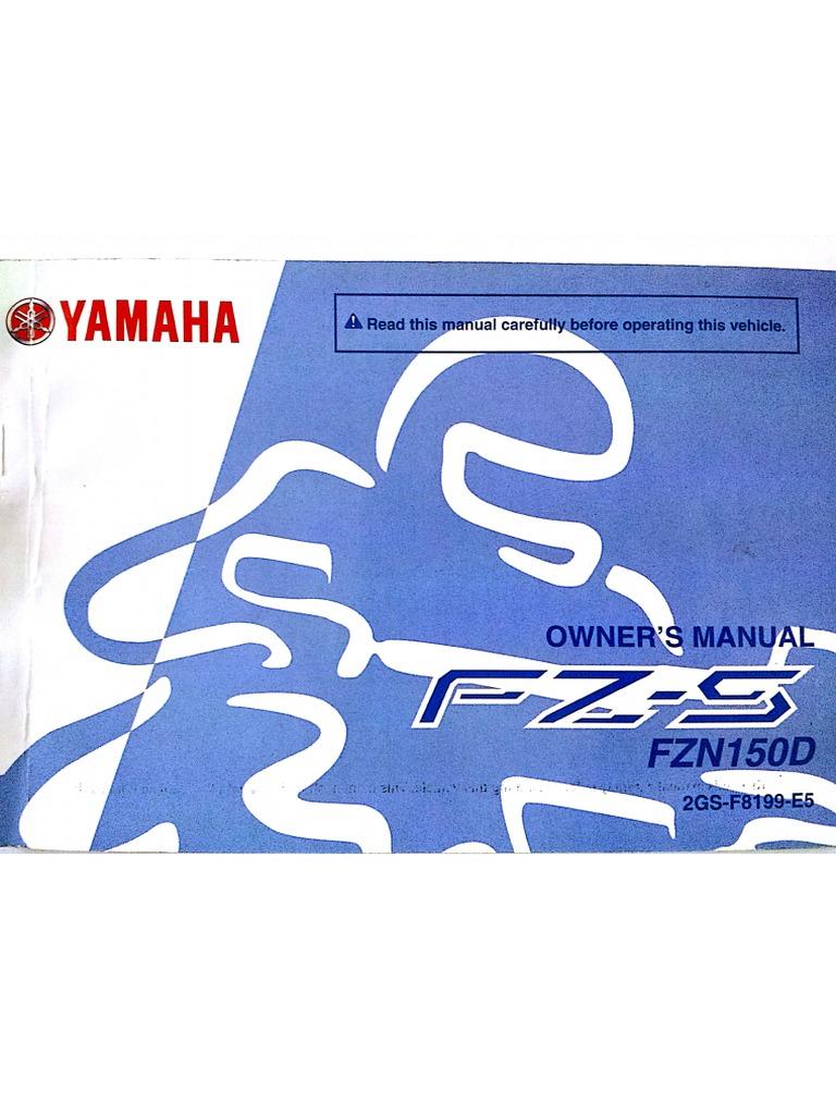 yamaha fz s 2 0 fzn150d manual rh scribd com yamaha fz16 manual pdf manual de taller yamaha fz16