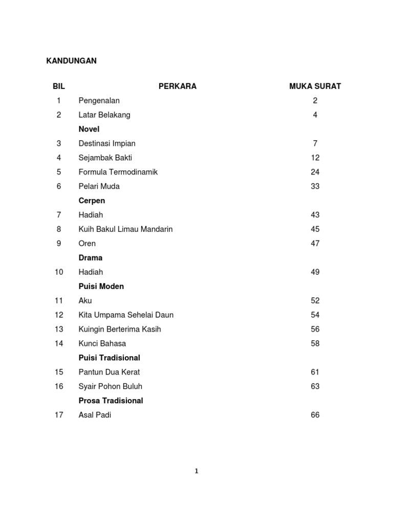 Nota Komsas BM Tingkatan 1