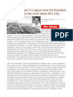 Happy New Year! It's About Time the President Told the People the Truth About Port City