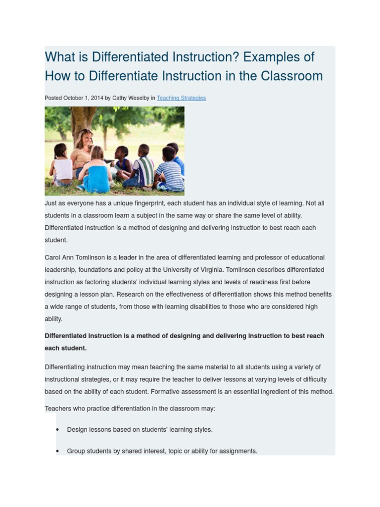 What Is Differentiated Instruction Differentiated Instruction