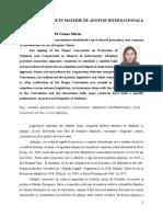 Principii Comune În Materie de Adopție Internațională