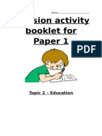 Revision Activity Booklet for Education