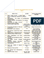 List of Books on Political and International Relations