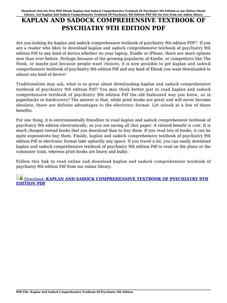 Kaplan and sadock comprehensive textbook of psychiatry 9th edition kaplan and sadock comprehensive textbook of psychiatry 9th edition textbook e books fandeluxe Gallery