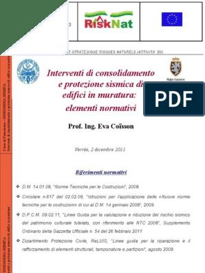 Interventi Di Consolidamento Murature.Interventi Di Consolidamento E Protezione Sismica Di Edifici