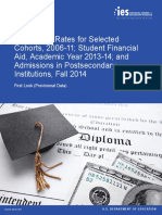 Graduation Rates for Selected  Cohorts, 2006-11; Student Financial  Aid, Academic Year 2013-14; and  Admissions in Postsecondary  Institutions, Fall 20142015181