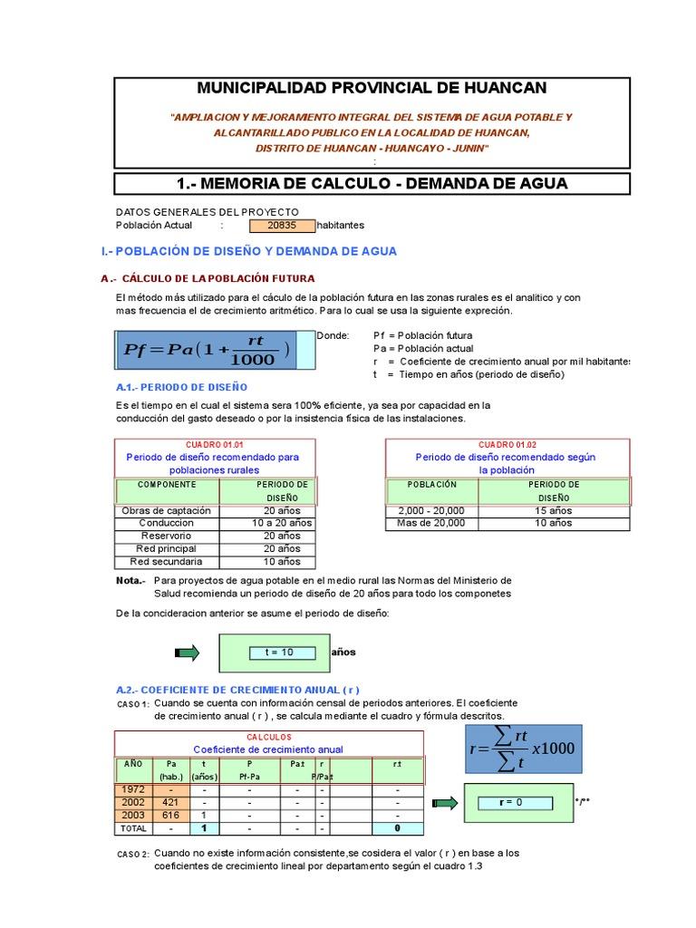 CALC. DE DEM. DE AGUA POTABLE HUANCAN.xls