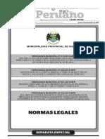 ORDENANZA N° s 019, 020, 021 y 022-2015-MPH