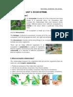 Unit 3. Ecosystems.