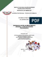 DIFERENCIA ENTRE UN MEDICAMENTO ORIGINAL Y OTRO DE DUDOSA PROCEDENCIA