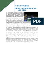 6 de Octubre. Creacion de la provincia de Los Ríos