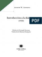 Adorno Theodor W - Introduccion a La Dialectica (1958)