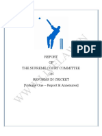 REPORT OF THE SUPREME COURT COMMITTEE ON REFORMS IN CRICKET headed by Justice R M Lodha