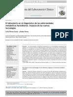 El Laboratorio en El Diagnóstico de Las Enfermedades Metabólicas Hereditarias. Impacto de Las Nuevas Tecnologías