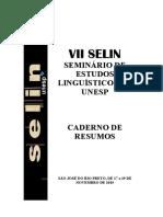Caderno de Resumos - Selin 2015