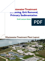 Screening, Grit Removal, Primary Sedimentation