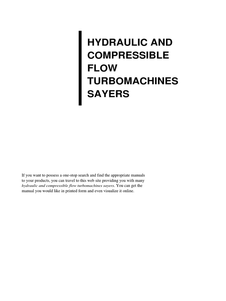 hydraulic and compressible flow portable document format fluid rh es scribd com Turbomachinery Symposium 2013 solution manual of turbomachinery design and theory
