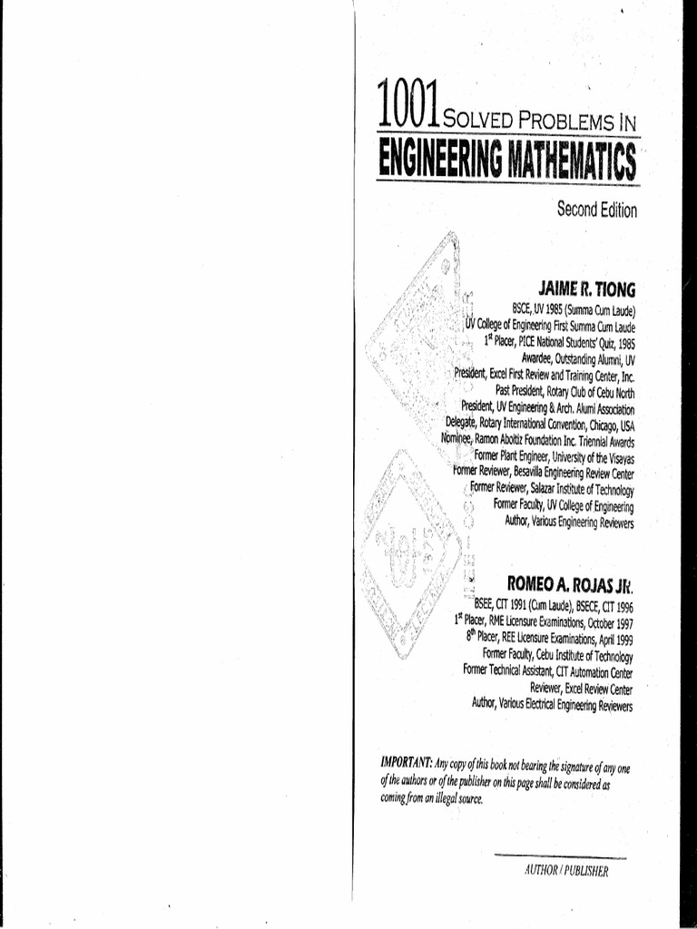 1001 Solved Problems in Engineering Mathematics by Tiong