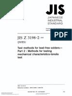 Jis z3198!2!2003 英文版 无铅焊剂的试验方法.第2部分机械拉伸特性试验的试验方法