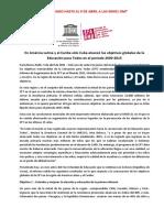 Comunicado de Prensa UNESCO - Logros ETP AmLat 2015