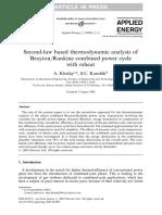 2nd Law Analysis of Brayton Rankine Cycle