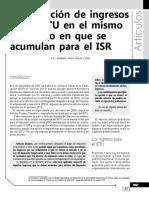 Acumulación de Ingresos en El IETU en El Mismo Momento en Que Se Acumulan Para ISR