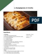 Cannelloni Au Champignons Et Ricotta
