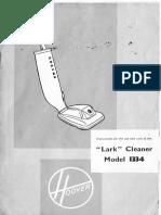Hoover Lark Model 1334 Vacuum Cleaner, Instruction manual