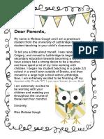 letter to parents