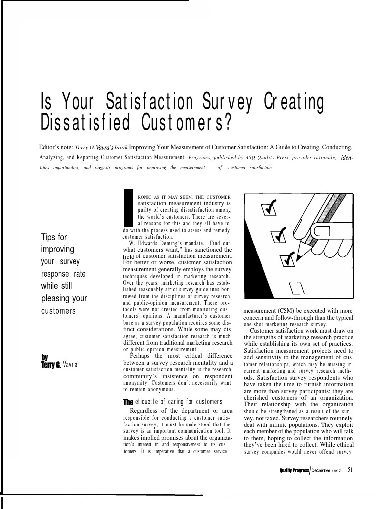 is your satisfaction survey creating dissatisfied customers