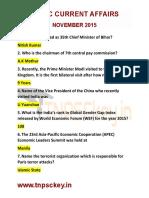 TNPSC Current Affairs NOVEMBER 2015