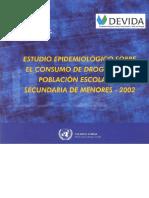 Estudio Epidemiológico sobre el Consumo de Drogas en la Población Escolar de Secundaria de Menores – 2002