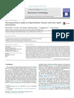 Thermogravimetric analysis of lignocellulosic biomass with ionic liquid pretreatment