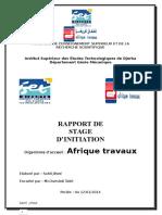 Rapport de stage d'observation Geni Mecanique on Afrique traveaux