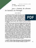 Materiais Para a História Do Advento Do Fascismo Em Portugal